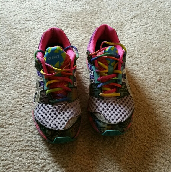 Asics Shoes - Purple and Rainbow Gel Asics